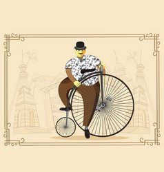 Man on penny farthing bicycle on old city vector