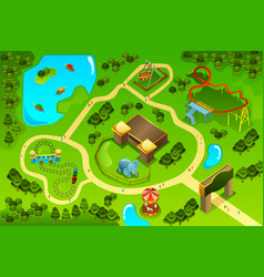 Map of an amusement theme park vector