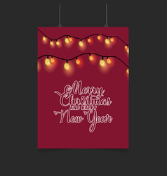 merry christmas and happy new year red glowing vector image