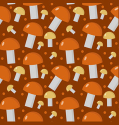 Mushrooms seamless pattern boletus edulis endless vector