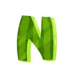 N veggie fruit letter of english alphabet made vector