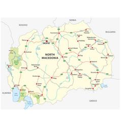 north macedonia road and national park map vector image