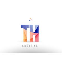orange blue alphabet letter th t h logo icon vector image