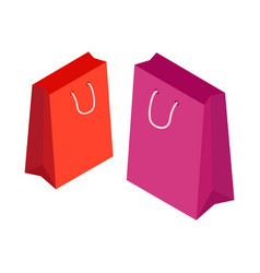 paper package shopping bag with handles for vector image