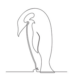 penguin continuous line drawing 2 vector image