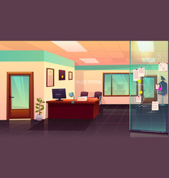 Police station room interior with evidence board vector