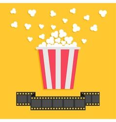 Popcorn Film strip ribbon line Red yellow box vector