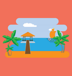 postcard with a bungalow on the beach vector image