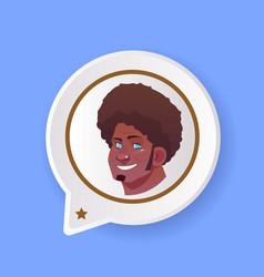 profile african smiling face chat support bubble vector image