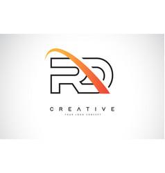 Rd r d swoosh letter logo design with modern vector