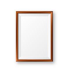 Realistic blank wooden picture frame modern vector