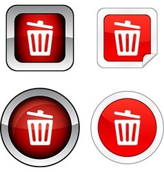 Recycle bin button set vector