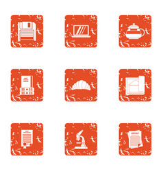 Red tape icons set grunge style vector