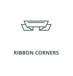 ribbon corners line icon vector image