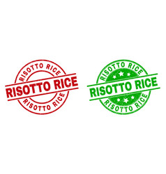 Risotto rice round seals with unclean style vector