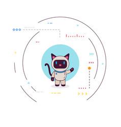 Robot cat presentation vector
