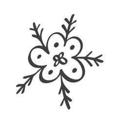 scandinavian handdraw snowflakes sign winter vector image