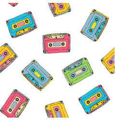 Seamless pattern with plastic cassette music vector