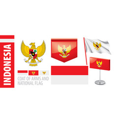 Set coat arms and national flag vector