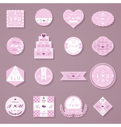 Set of wedding decorative stickers vector
