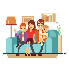 smiling young happy family on sofa man woman and vector image