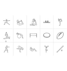 sport hand drawn outline doodle icon set vector image