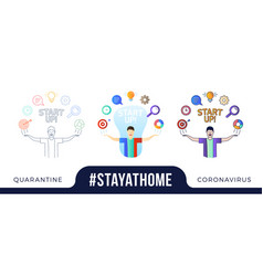 stay at home concept character with his hands up vector image