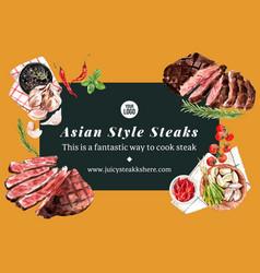 Steak frame design with pepper chili vector