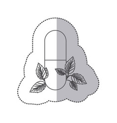 Sticker monochrome silhouette pill medical in vector