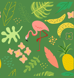 Summer seamless background with flamingo plants vector