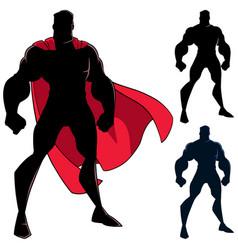 superhero standing tall silhouette vector image