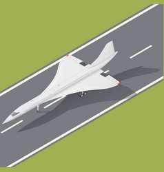 supersonic passenger airliner isometric icon vector image