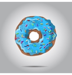 Sweet donut with blue glaze and many vector