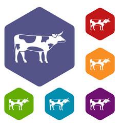 Switzerland cow icons set vector
