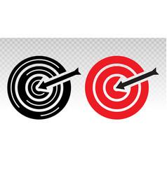 Target bullseye with arrow line art icon vector