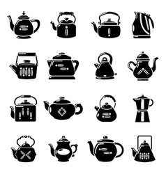 Teapot icons set simple style vector