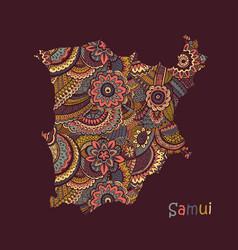 textured map samui hand drawn ethno vector image