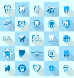 Tooth dental care logo icons set flat style vector