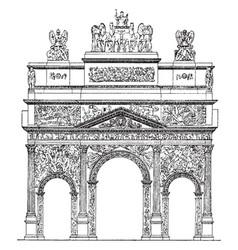 triumphal arch the roman arch in orange vintage vector image