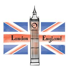 Uk flag london city famous landmark travel gb sign vector
