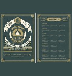 Vintage restaurant menu design template vector