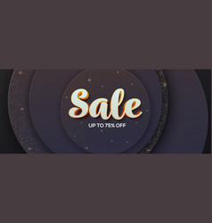 volumetric text sale on luxury paper cut vector image