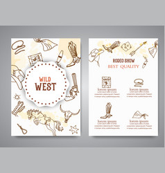 wild west brochure american cowboy rodeo show vector image