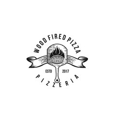 Wood fired pizza classic logo design vector