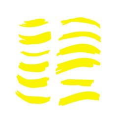 yellow watercolor hand drawn highlight set vector image