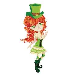 Cute Leprechaun Girl vector image vector image