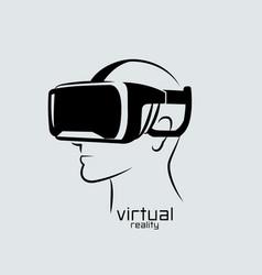 virtual reality logo flat design icon black vector image vector image