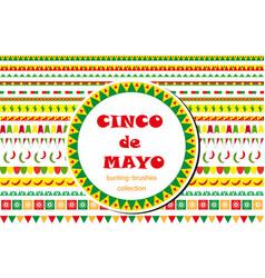 cinco de mayo celebration set of borders vector image vector image