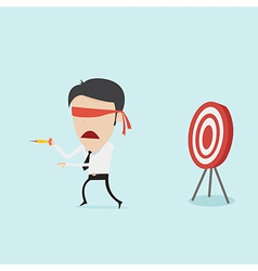 Confused blindfold businessman try to hit a target vector image vector image