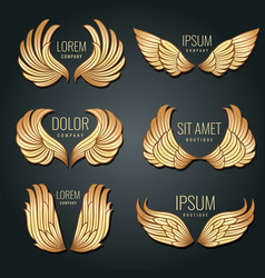 golden wing logo set angels and bird elite vector image